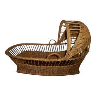 Boho Chic Wicker Bassinet Doll Basket