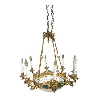 10-Light Brass Swan Chandelier