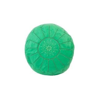 Mint Green Moroccan Leather Pouf Ottoman