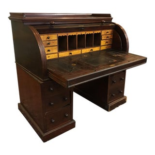 Antique Chippendale Mahogany Leather Top Cylinder Secretary Writing Office Desk