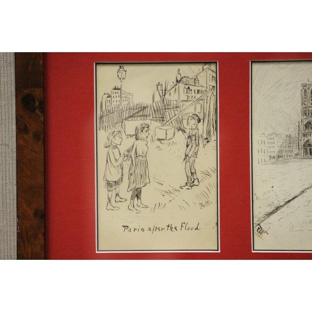 Set of 4 Framed Postcard Pen & Ink Drawings - Image 5 of 6