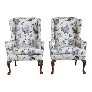 Hickory Queen Anne Wingback Chairs- A Pair