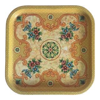 Vintage Mid-Century English Imperial Ornate Floral Enamel Tin Tray