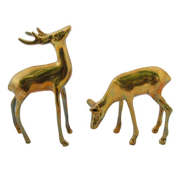 Image of Vintage Brass Deer Figurines - A Pair
