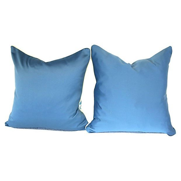 Blue and White Linen Pillows II - Pair - Image 4 of 6
