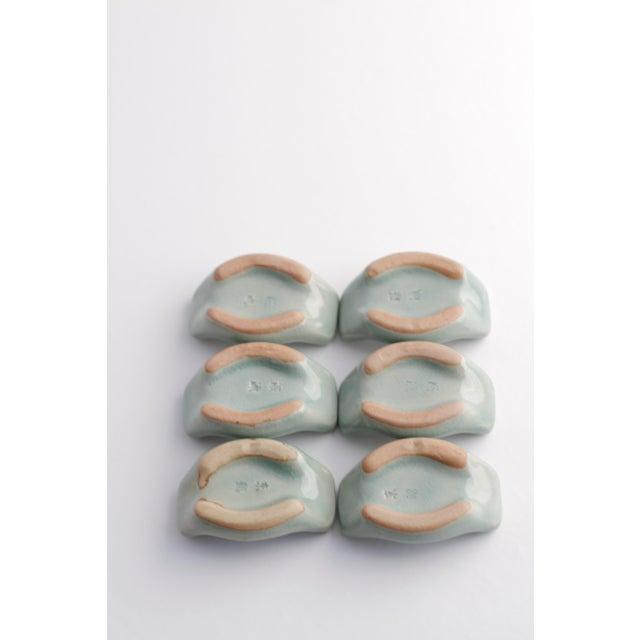 Vintage Asian Ceramic Celadon Chopstick Rests in Box - Set of 6 - Image 5 of 10