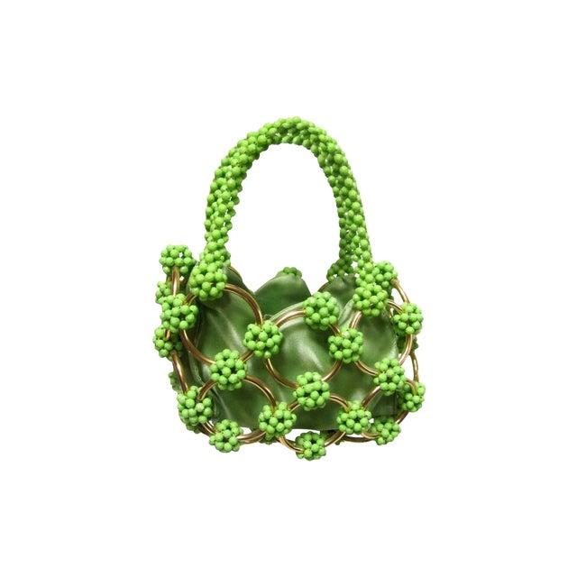 Image of Vintage Italian Green Beaded Hand Bag