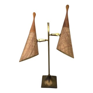 Vintage Laurel Twin Light Brass Lamp