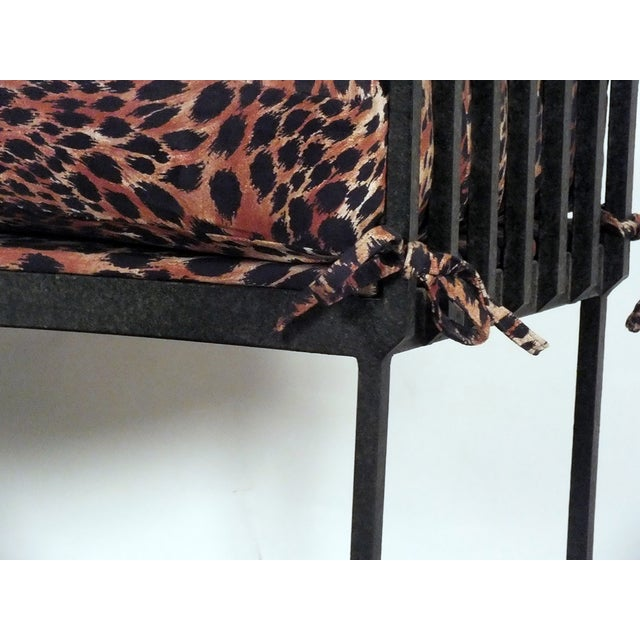Hammered Iron Upholstered Curved Bench Leopard - Image 6 of 10