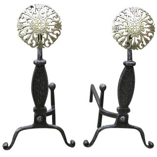 Colonial Style Iron & Brass Medallion Andirons - a Pair