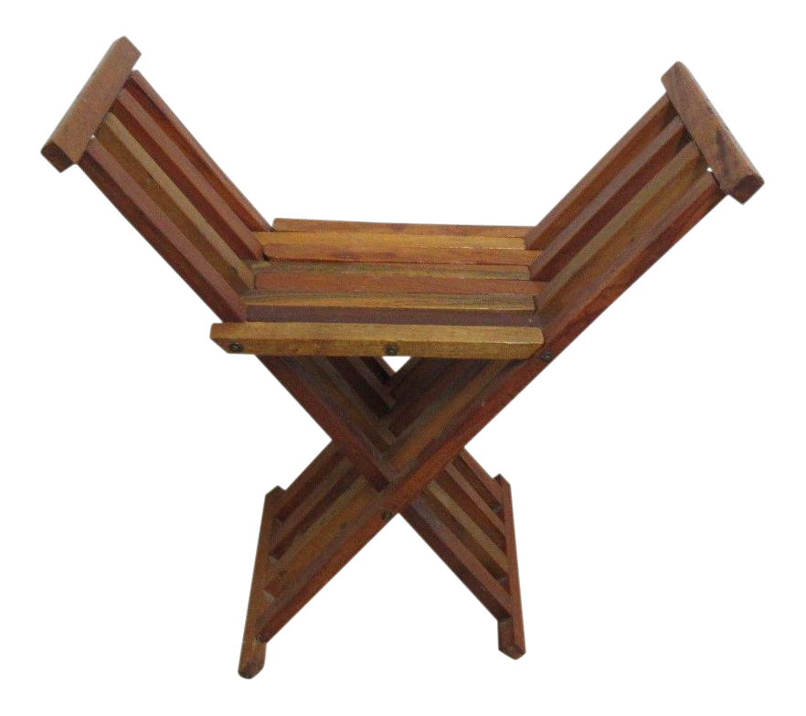 Vintage Campaign X Base Folding End Table