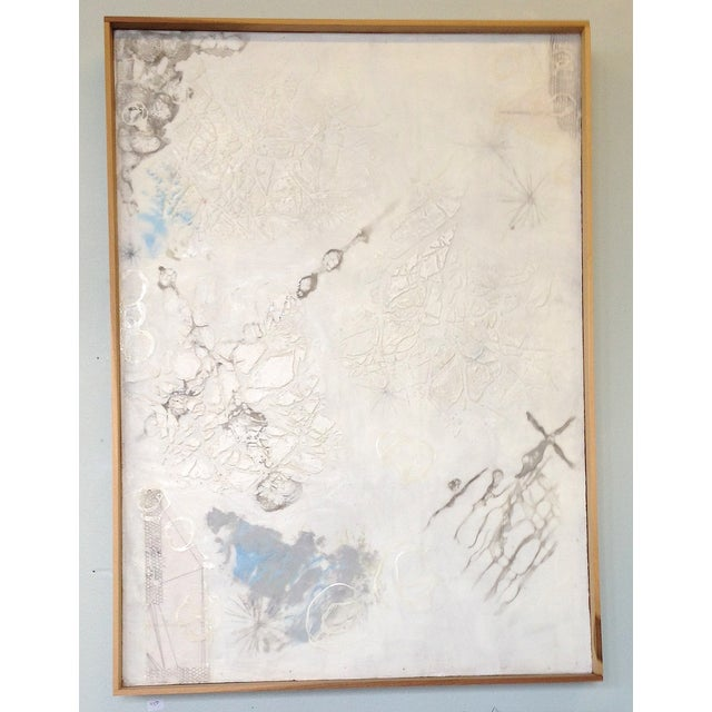 White Neutral Monochromatic Encaustic Painting - Image 3 of 5