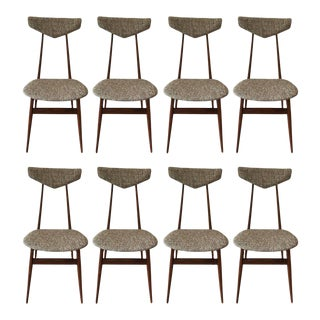 Modern Tweed Upholstered Dining Chairs - Set of 8
