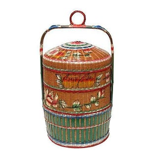 Asian Style Hand-Painted Stacked Rice Basket