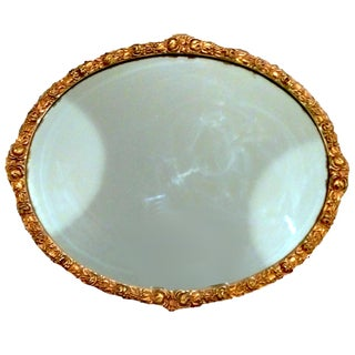 Antique 1920's Gilded Floral Garland Mirror