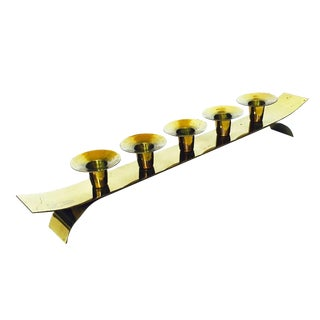 Mid Century Long Brass Candle Holder