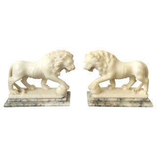 1930's Italian Carved Alabaster Lion Ornaments - A Pair