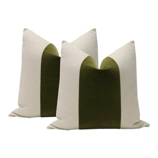 "22"" Olive Green Velvet Panel and Linen Pillows - a Pair"