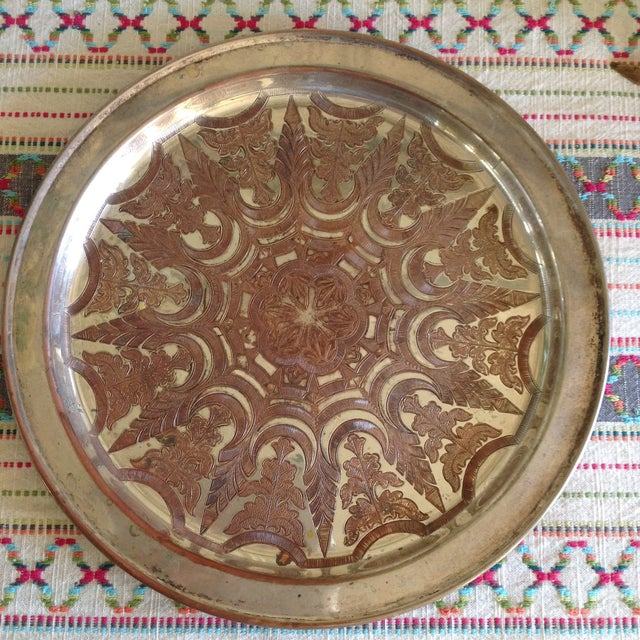 Vintage Moroccan Engraved Patterned Tray - Image 7 of 9