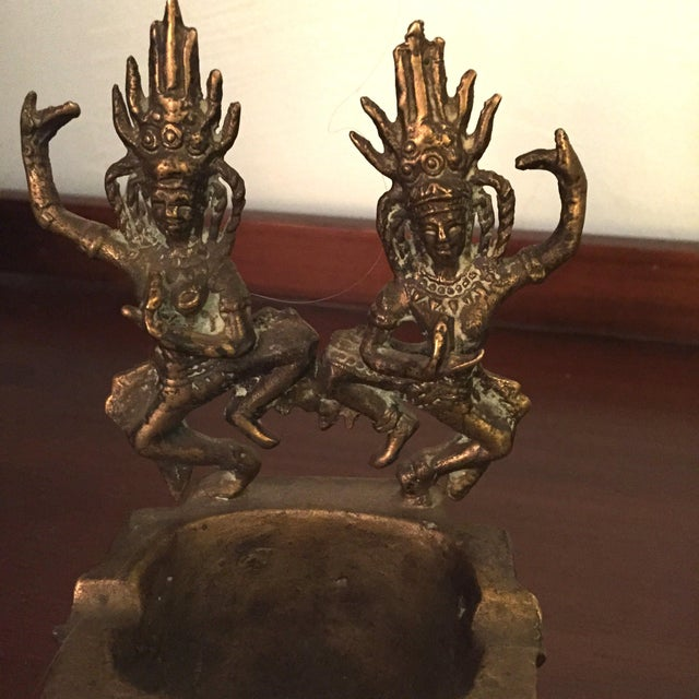 Brass Thai Asian Dancing Ganesh Ashtrays - A Pair - Image 6 of 7