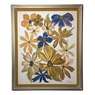 Retro Mid-Century Floral Tapestry Wall Art
