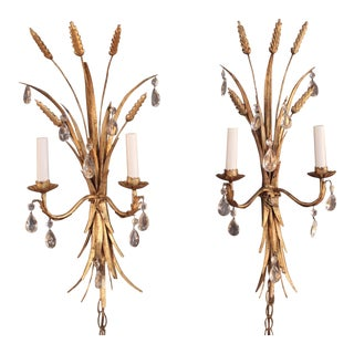 Vintage Wheat-Sheaf Sconces - Pair