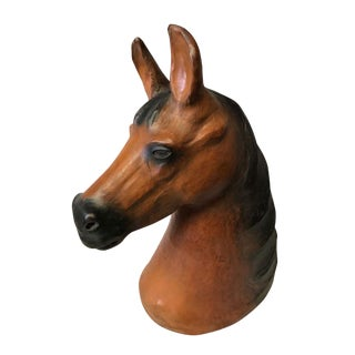 Large Horse Head Leather Covered Paper Mache Wall Mount