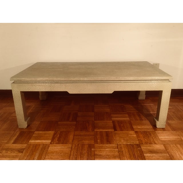 Baker Greige Grasscloth Wrapped Coffee Table With Chow Feet - Image 7 of 7