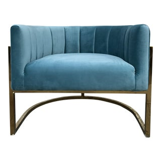 Minty Blue Velvet Club Chair With Brass Frame