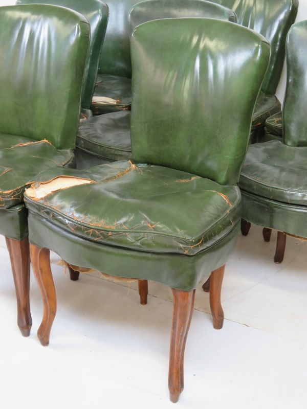 Green leather dining