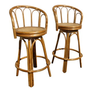 Vintage Tiki Palm Beach Style Bentwood Rattan Swivel Barstools - a Pair