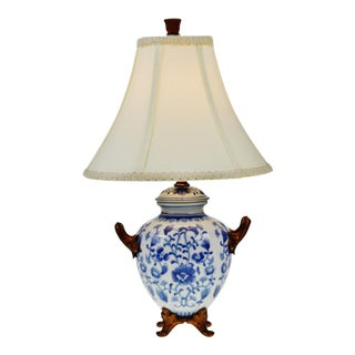 Vintage Blue and White Chinoiserie Porcelain Footed Table Lamp