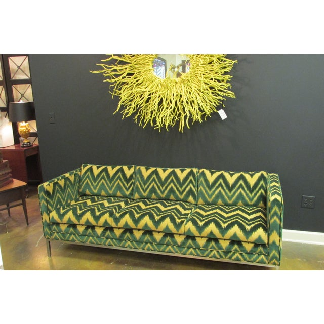 Vintage Chrome and Chevron Print Knoll Sofa - Image 3 of 6