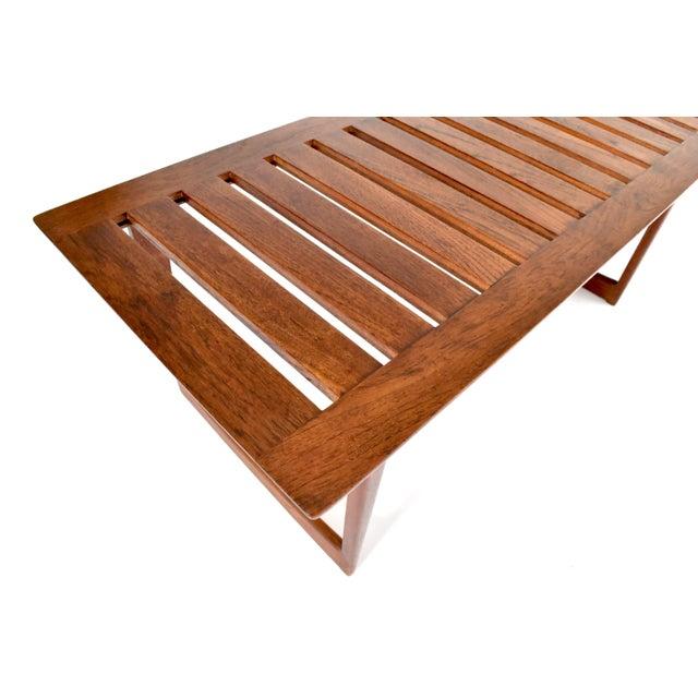 Mid Century Wegner Lovig Style Teak Slat Bench Coffee Table Chairish