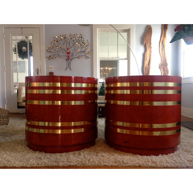 Hollywood Regency Red Burled Drum Tables - Pair - Image 7 of 7