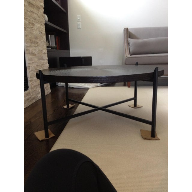 Modern Crate & Barrel Copper & Metal Coffee Table - Image 7 of 10