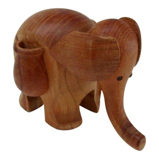 Teak Elephant Toothpick Holder