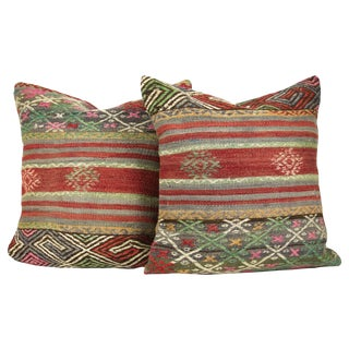 "Matching 20"" Square Antique Kilim Pillows - A Pair"