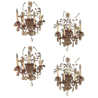 Maison Bagues Style Crystal & Bronze Five Light Wall Sconces - Set of 4
