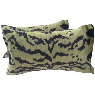 "Moss Scalamandre ""Le Tigre"" Down Pillows - a Pair"