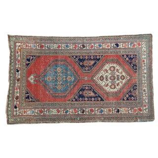 Distressed Persian Rug Fragment - 3′8″ × 5′10″