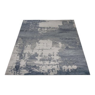 "Blue and Ivory Abstract Rug - 5'3"" X 7'7''"