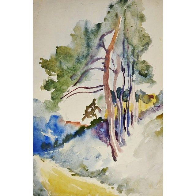 Image of Tree-Lined Country Lane Watercolor Painting