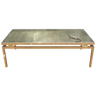 Polished Brass Etched Top Cocktail Table by Rosseau