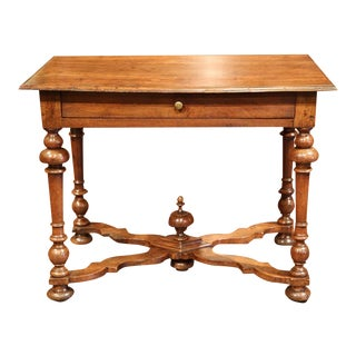 Late 18th Century French Walnut Side Table with Turned Legs & Stretcher
