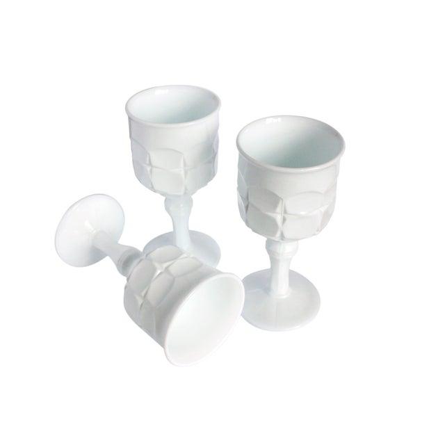 Vintage Milk White Goblets II - Set of 3 - Image 2 of 2