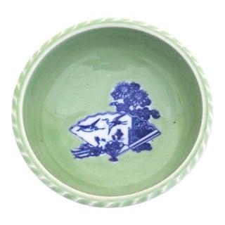 Chinese Crane Fan & Flower Motif Celadon Bowl