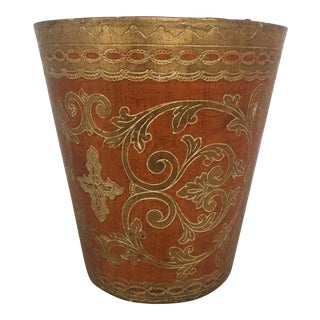 Vintage Round Florentine Wood Wastebasket
