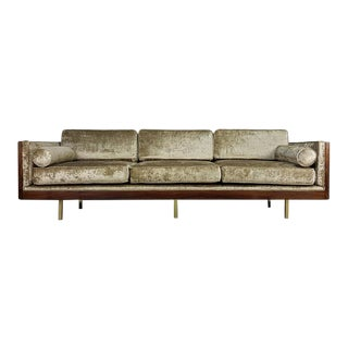 Wildly Grained Rosewood Sofa in Crushed Velvet After Milo Baughman, 1970s