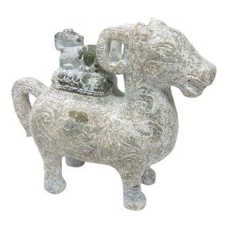 Carved Soapstone Ram Vessel